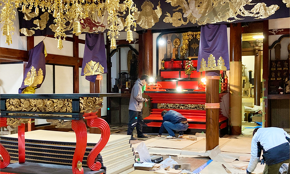 現場実習で熱田神社を修復工事
